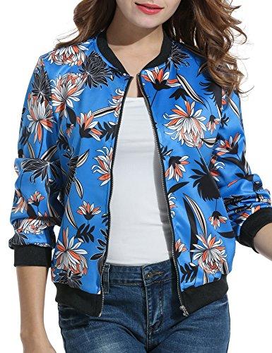 Jacket Fleur Automne Zearo Manche Veste Femme Floral Longue Hiver Blouson Manteau Cardigan Imprimé Bomber Bleu f4SwRSn1