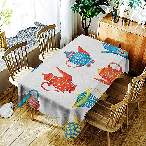 XXANS Fashions Rectangular Table Cloth,Tea Party,Colorful Teapots Various Shapes Sizes Breakfast Ceramic Cute Design,Party Decorations Table Cover Cloth,W60x120L Blue Vermilion Yellow ()