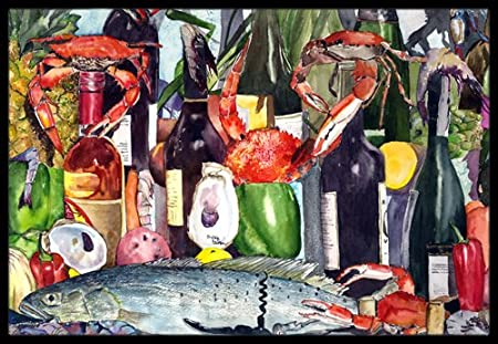 18 x 27 Carolines Treasures Wine and Speckled Trout Indoor or Outdoor Mat Multicolor