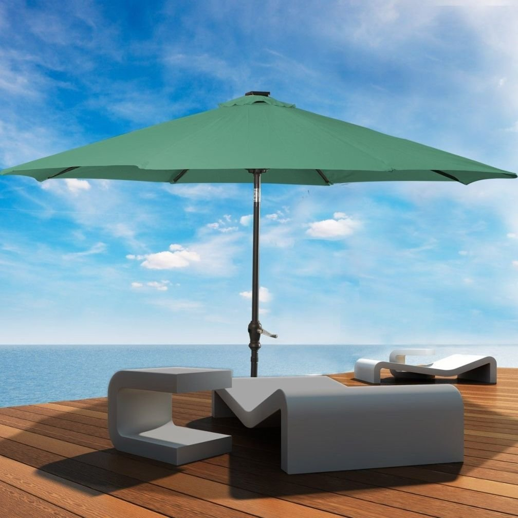 New 10'Patio Solar Umbrella LED Patio Market Steel Tilt W/ Crank Outdoor (Green)