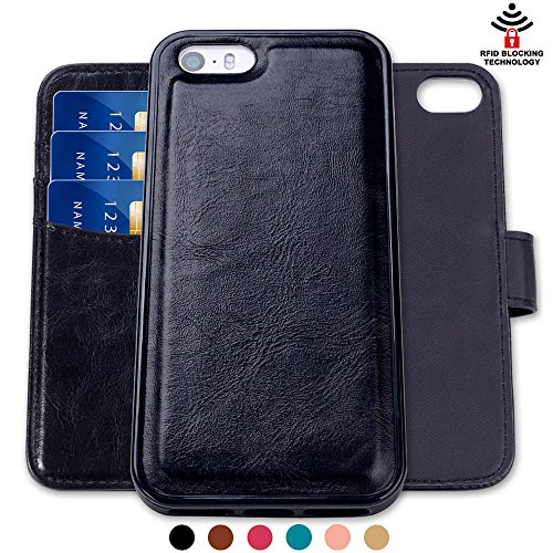 SHANSHUI Wallet Case Compatible iPhone SE/5/5s, Magnetic Detachable 2 in 1 PU Leather Flip Wallet Case with 3 RFID Card Holders and 1 Cash Pocket with Slim Back Cover (Black)