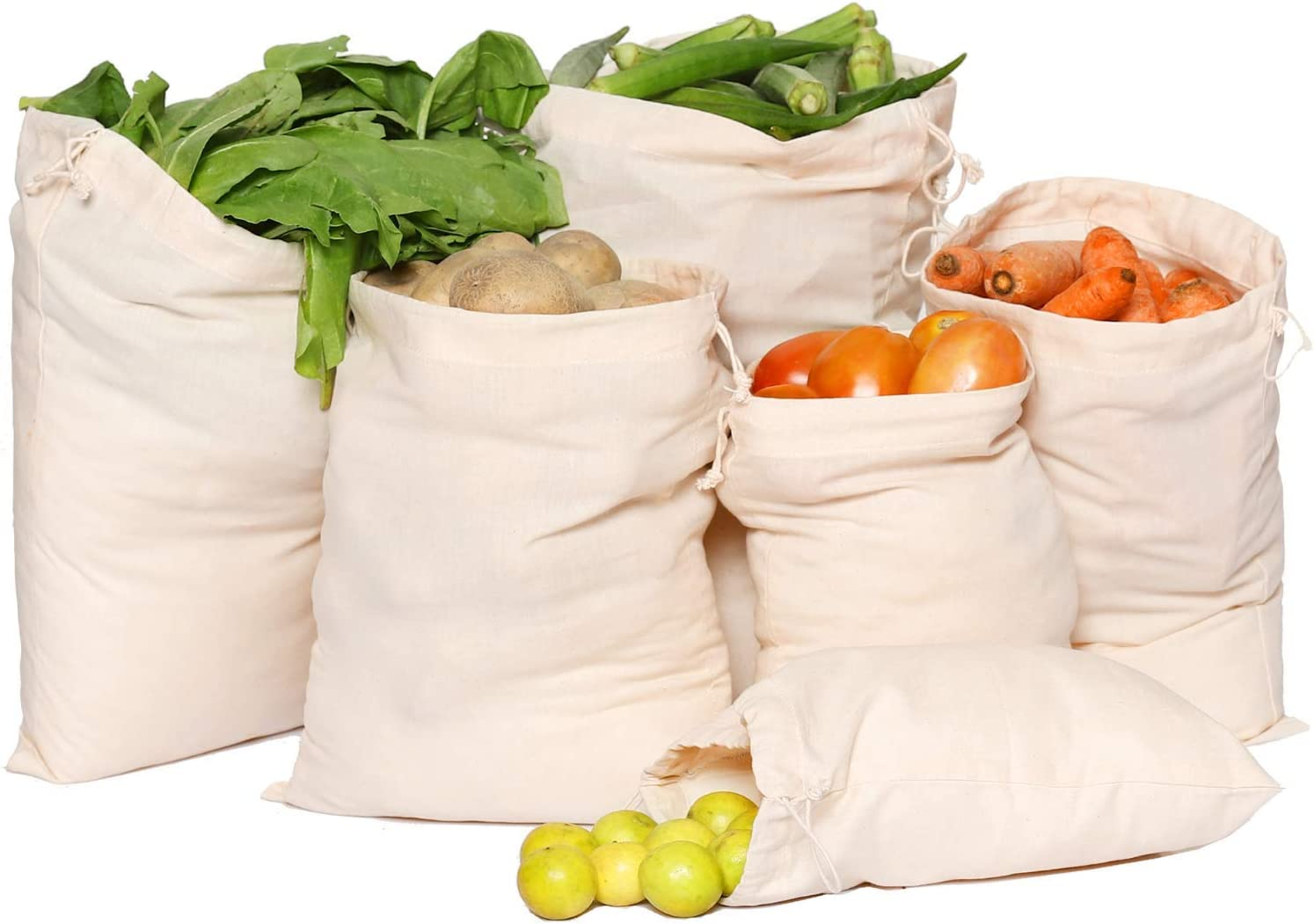 Greenmile Set of 9 Cotton Reusable Produce Muslin Grocery Bags