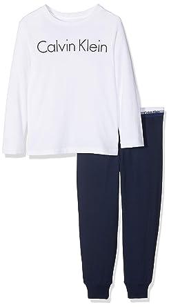 Calvin Klein Knit PJ Set (LS+Cuffed), Pijama para Niños, Blanco