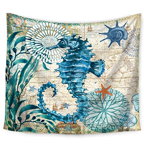 ECONIE Sea Horse Tapestry Throw Bohemian Mandala Wall Hanging Tapestry Wall Art Decor Beach Throw Table Runner/Cloth 51