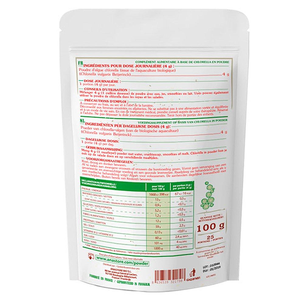CHLORELLA ECOLÓGICA EN POLVO * 25 raciones / Chlorella en polvo 100 g * Antianémico, energía, hepatoprotector, sistema inmune * Garantía de satisfacción o ...