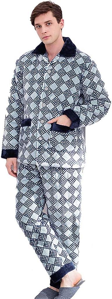Pijamas para Hombres Pijamas Gruesos de Manga Larga Pijamas ...