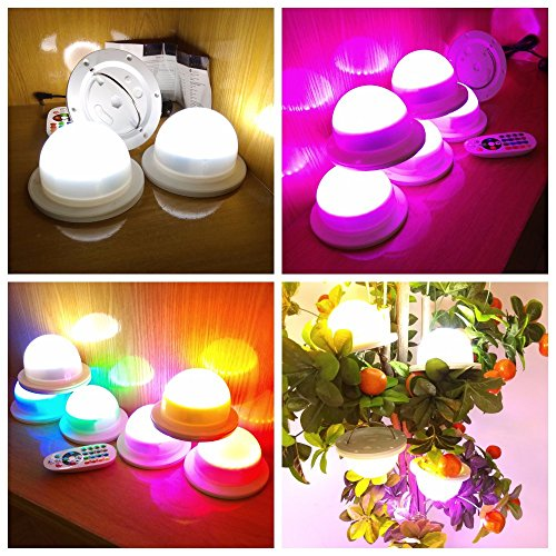 LED Under Table 16 Colors Change Decoration Light For Weddings, Parties, Events, Birthdays With 24 RGB+24W LED, Super Bright, 4400 mAh Rechargable Lithium Battery. No Cables, Switch And Remote Control