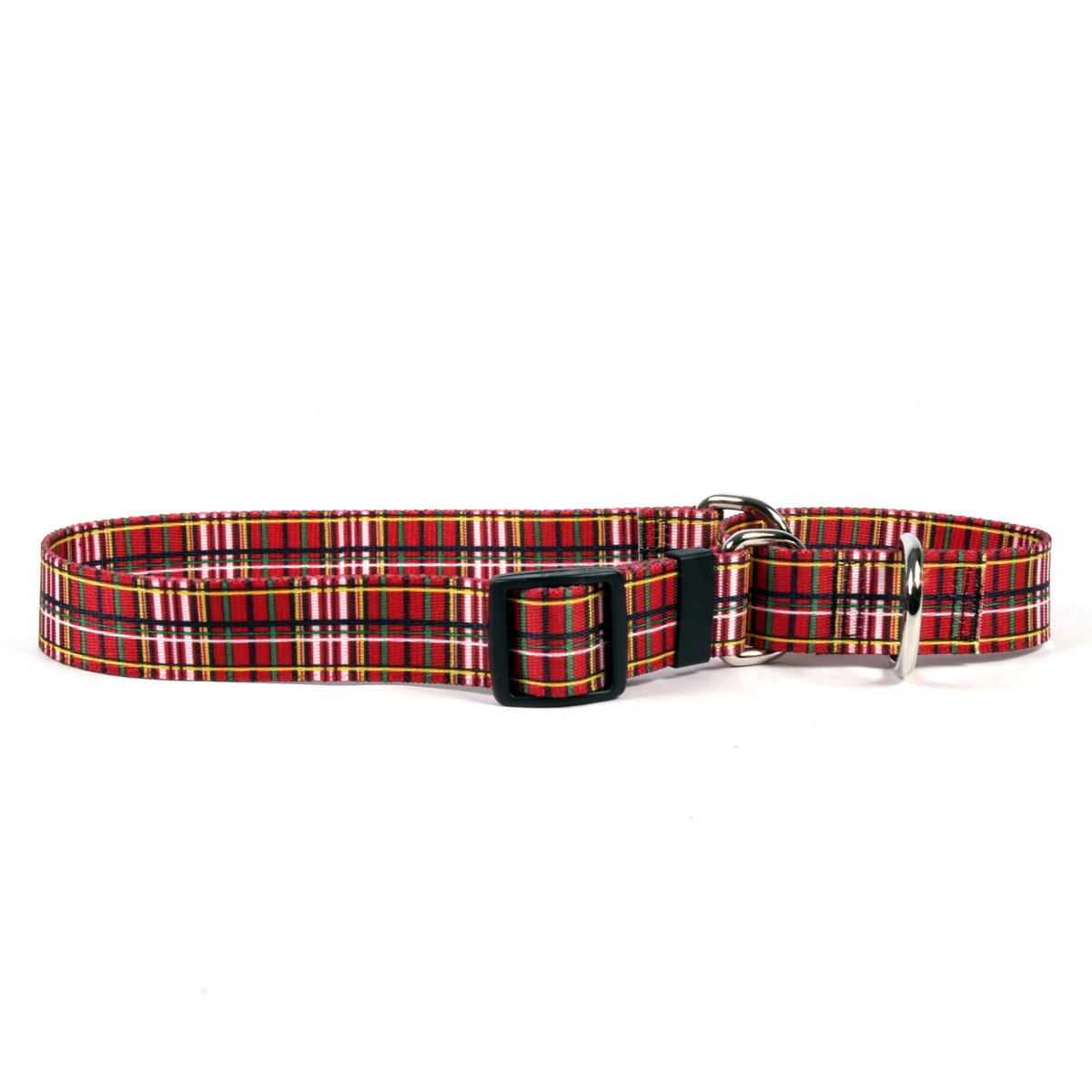 Extra Small 10\ Yellow Dog Design Tartan Red Martingale Dog Collar-Size X-Small-3 4  Wide and fits Neck 9 to 12