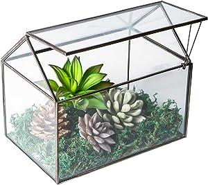 House Shape Close Glass Geometric Terrarium Tabletop Succulent Plant House Garden Geo Planter Moss Fern Swing Lid Reptile, Flower Pot for Plants Succulent, Air Plant (Black)