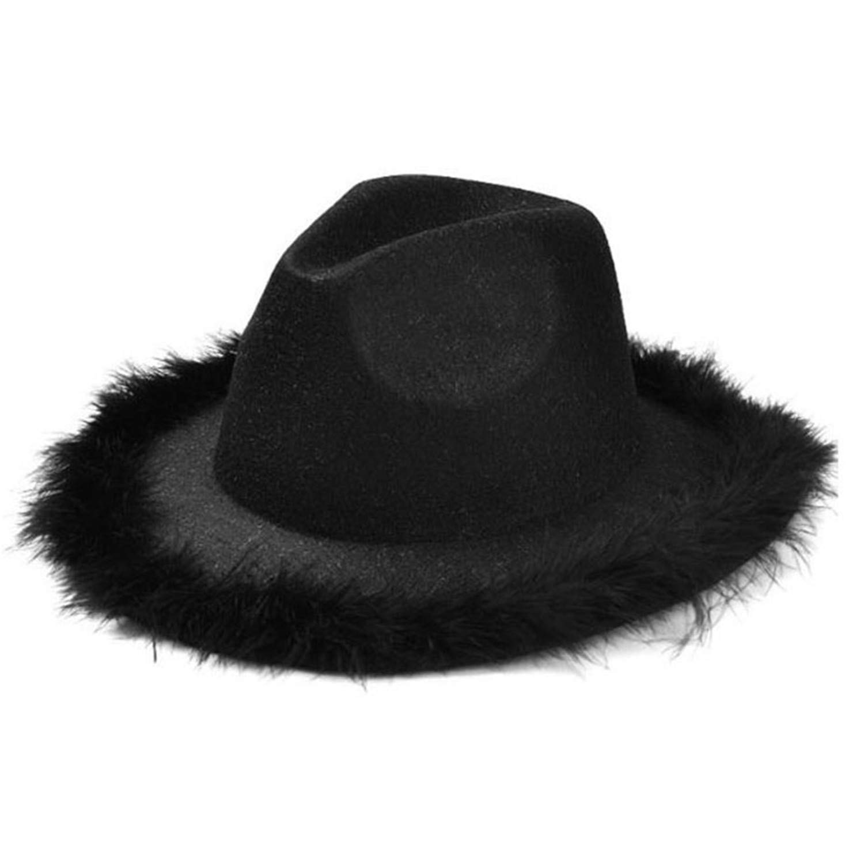 05c31163 Women Fedora Hat with Feather Vintage Tweed Jazz Hat Female Wool Autumn  Winter Caps Elegant Bucket Hat at Amazon Women's Clothing store: