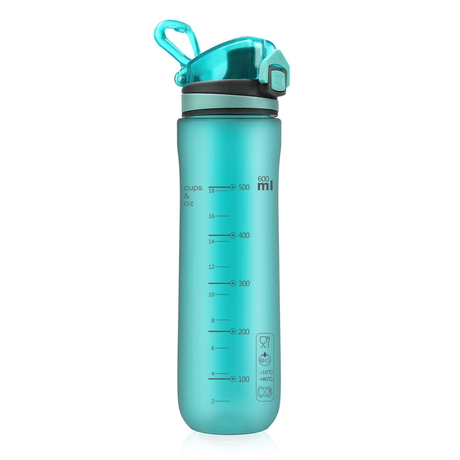 Letsfit Water Bottle, Sports Water Bottler with Flip Top Lid, BPA-Free Tritan Plastic, Leak Proof Dust Proof, 21oz for Outdoors, Cycling, Camping, Yoga, Running