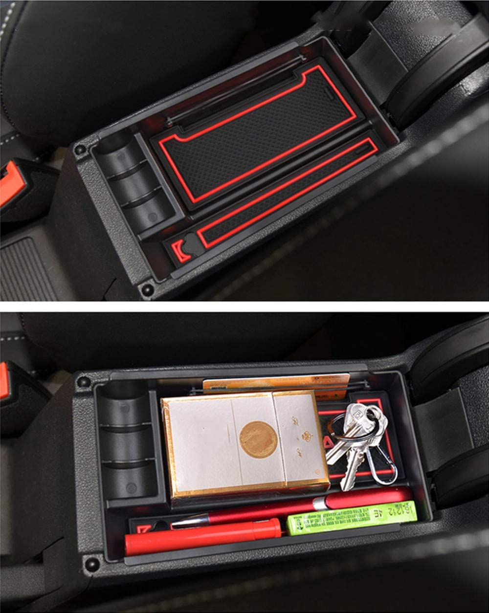 Secondary Storage Liner Accessories Custom Fit Cup Armrest Box for VW Teramont 2017 Center Console Organizer Insert ABS Black Materials Tray