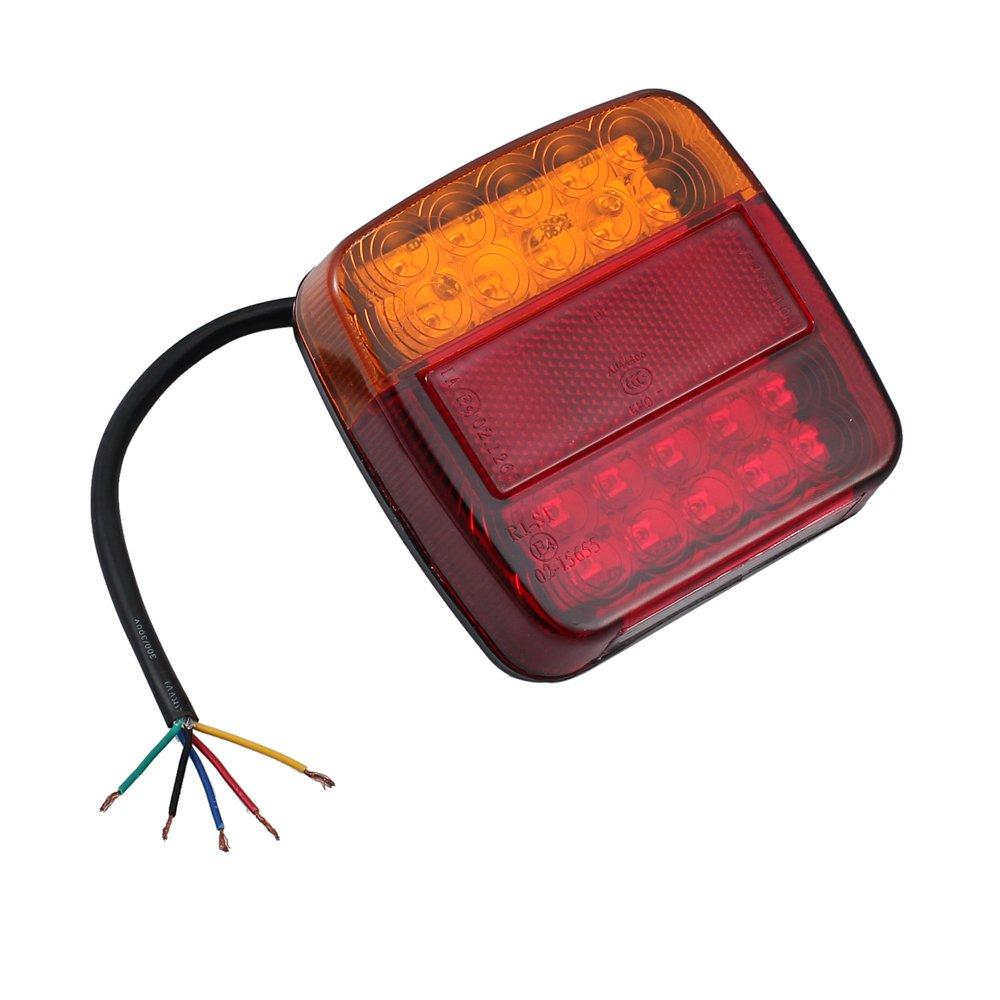 High Key 2X 20 LED Caravan Truck Trailer Stop Rear Tail Turn Signal Reverse Brake Light Indicator Lamp 12V//24V Waterproof Red/&Yellow/&White