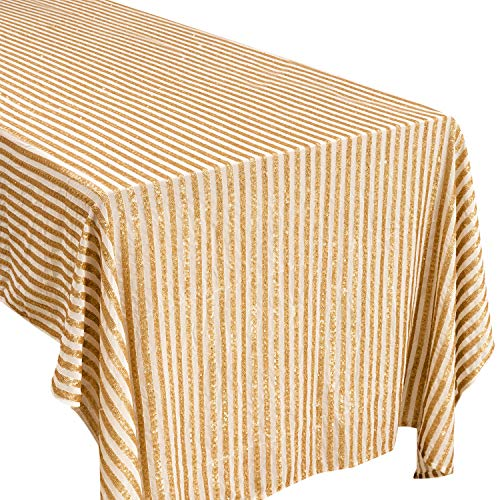 Crisky Stripe Sequin Tablecloth Gold Glitter Tablecloth Gold Party Supplies Fabric Decorations for Wedding Birthday Baby Shower -