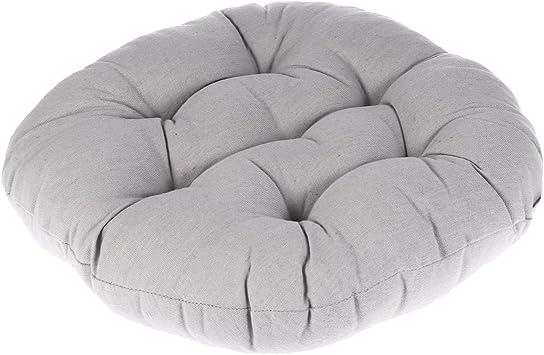 WINOMO Round Floor Pillow Cushion Cotton Linen Pouf Seat Cushion Yoga Window Tatami Home Office Pad(Gray)