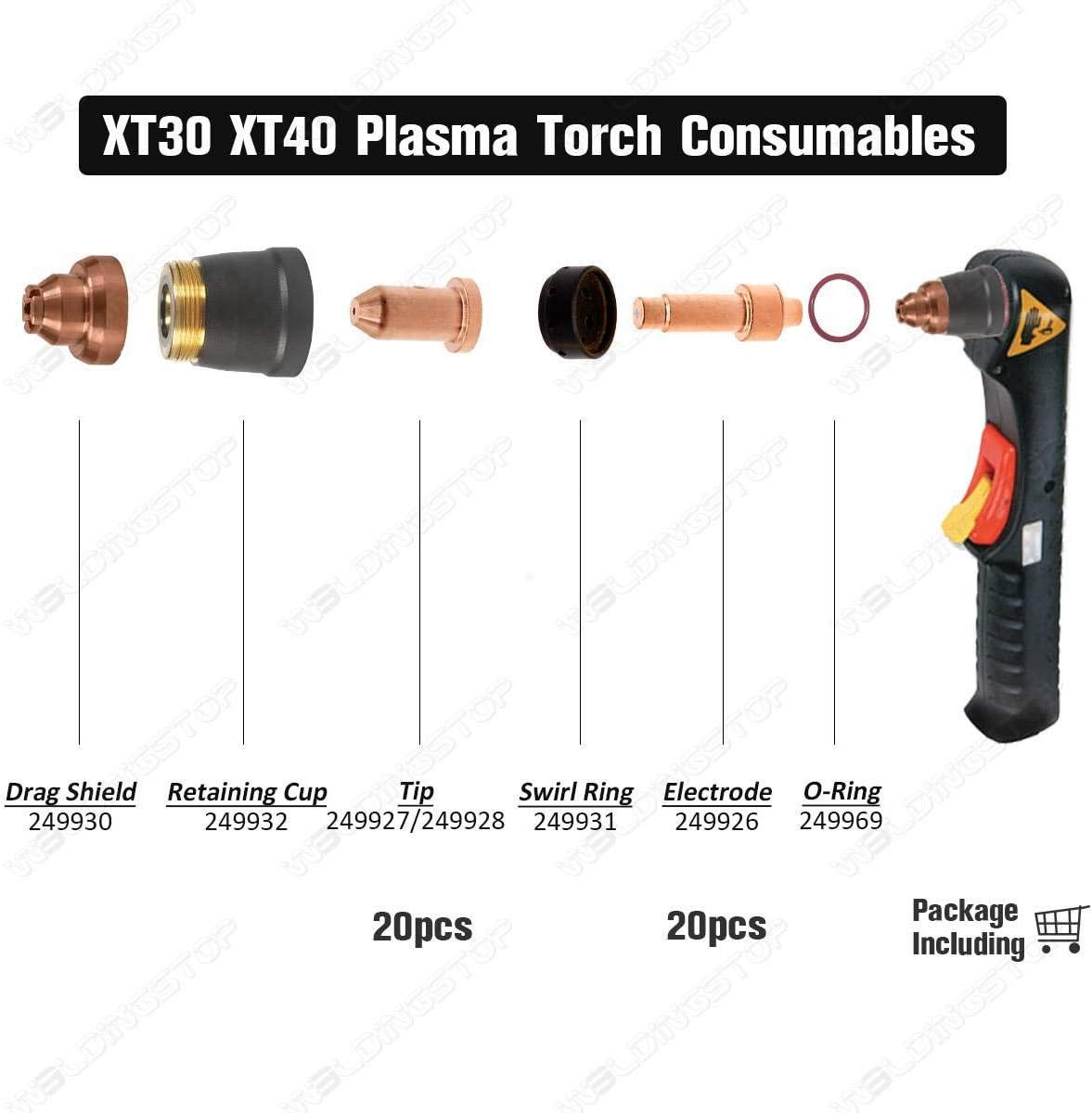 PK//40 XT40 Torch Electrode 249926 Tip//Nozzle 249927 249928 fit Miller Plasma Consumables Kit