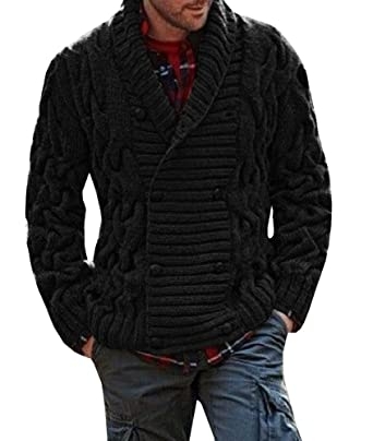 Mens Ribbed Knit Chunky Cardigan Double Breasted Shawl Collar ...
