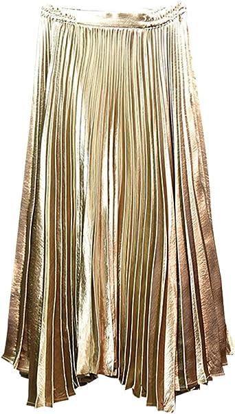 ZhuiKun Mujer Falda Plisada Pliegues Alta Cintura Cintura Elástico ...