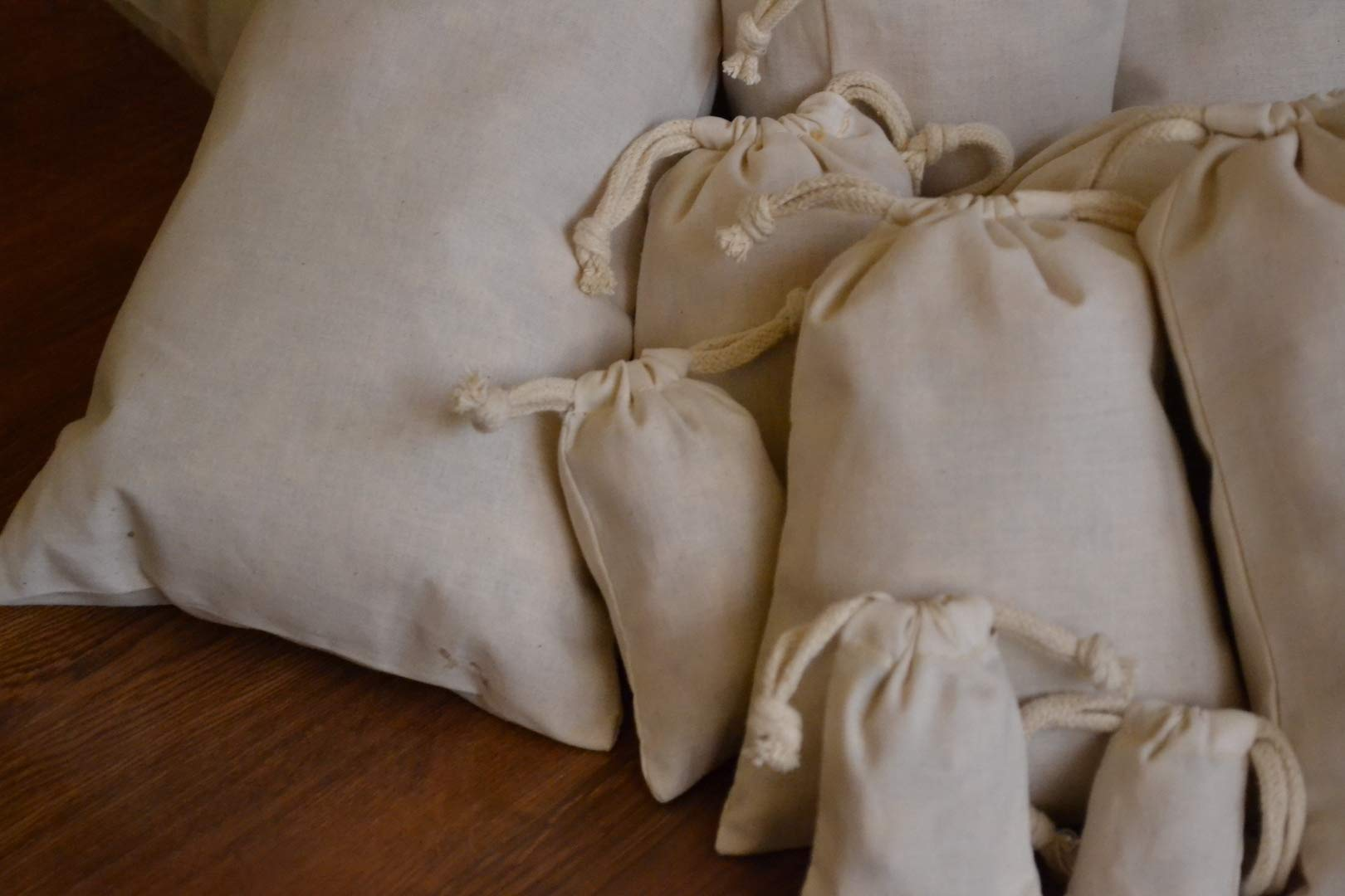 Biglotbags 100 Pieces of 12 x 16 Inches Cotton Muslin Bags, 100% Organic Cotton, Double Drawstring Style, Premium Quality by BigLotBags (Image #7)