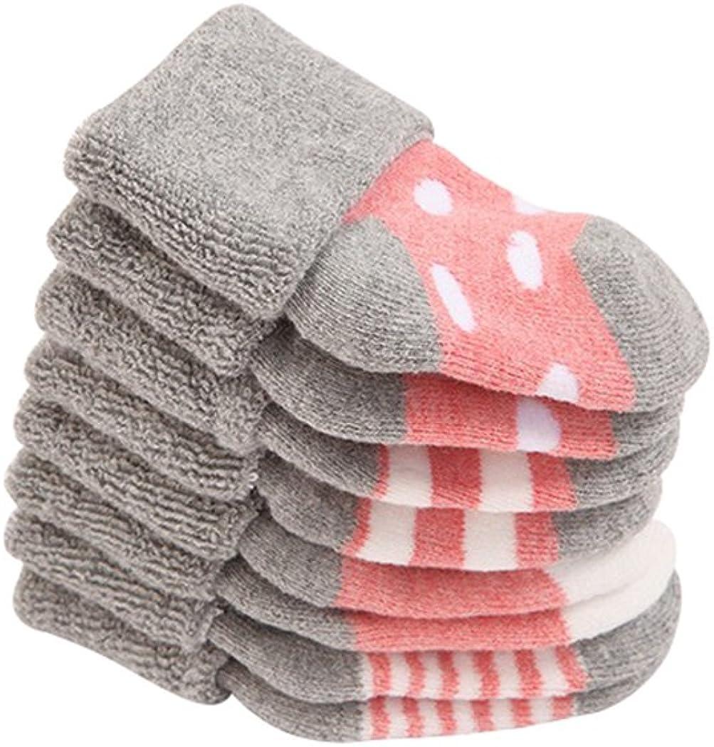 DEBAIJIA Quatre Paires Chaussettes Epaissir B/éb/é Fille Gar/çon 0-3 Ans en Coton Peign/é Respirant Hiver Chaude Chaussette