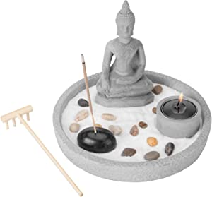 MyGift Buddha Statue Zen Garden Set with Sand, Rock & Rake, Incense & Tealight Candle Holder