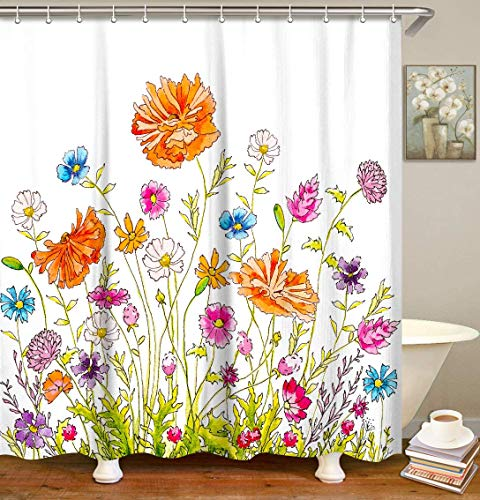 LIVILAN Orange Pink Watercolor Flowers Shower Curtain Set with 12 Hooks Fabric Shower Curtain for Bathroom Decor, 70.8
