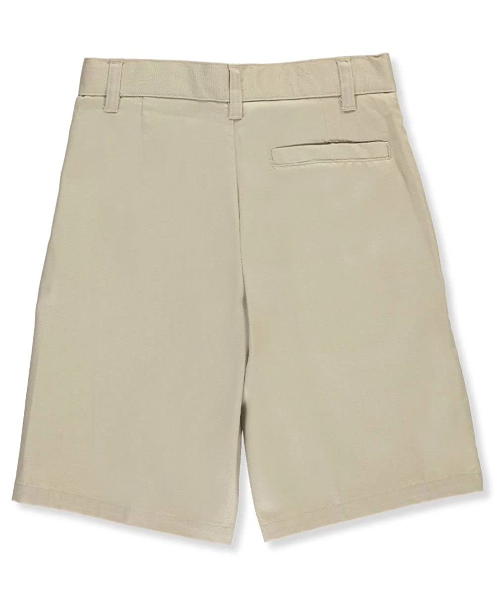 French Toast Unisex Flat Front Twill Shorts with Adjustable Waist 18 Khaki