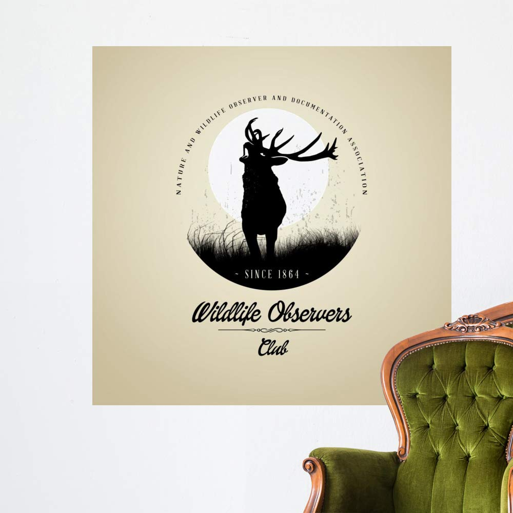 Wallmonkeys Wildlife Observers with Deer Wall Decal Peel and Stick Animal Graphics (48 in H x 48 in W) WM497371
