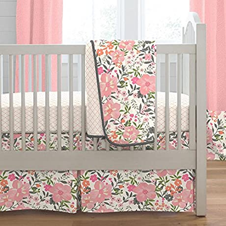Carousel Designs Coral Pink Tropic Floral 3 Piece Crib Bedding Set