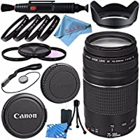 Canon EF 75-300mm f/4-5.6 III Lens 6473A003 + 58mm 3pc Filter Kit + 58mm Macro Close Up Kit + Lens Cleaning Kit + Lens Pen Cleaner + 58mm Tulip Lens Hood Bundle
