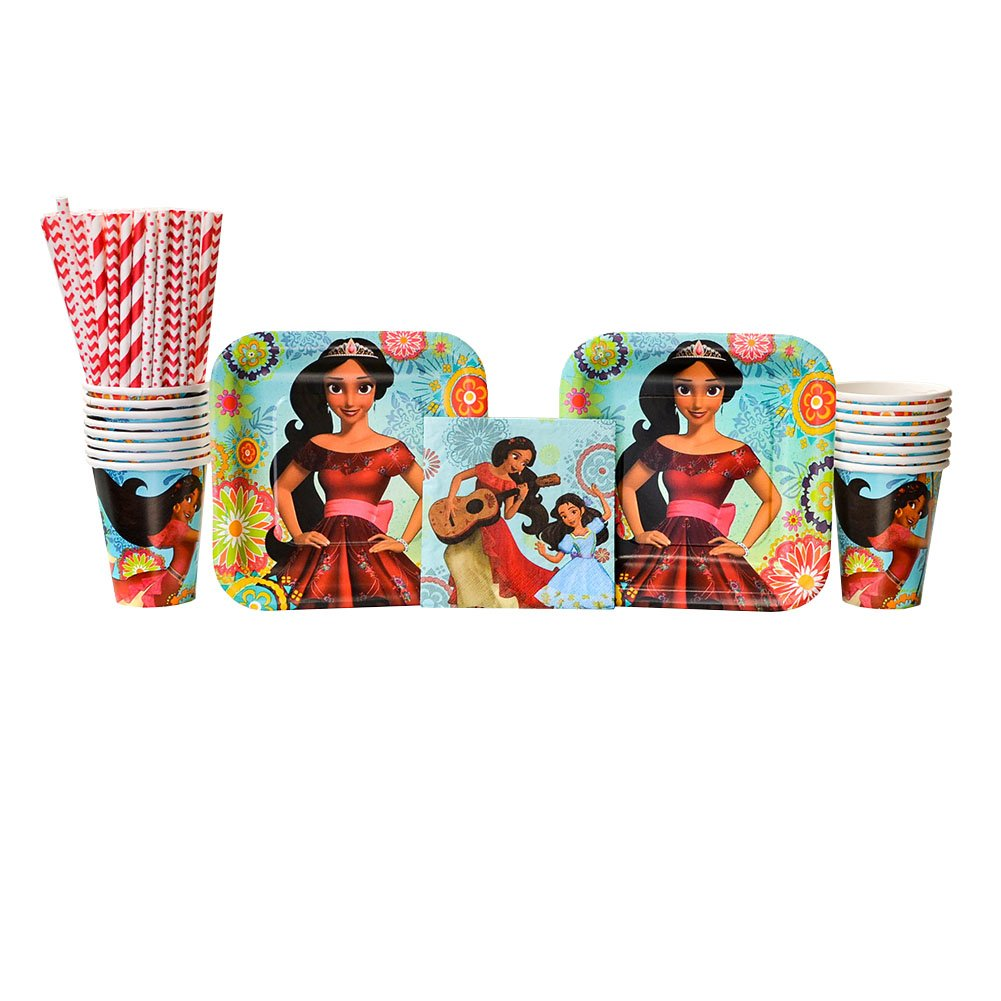 Elena of Avalor Party Supplies Pack for 16 Guests - Straws, Dessert Plates, Beverage Napkins, and Cups