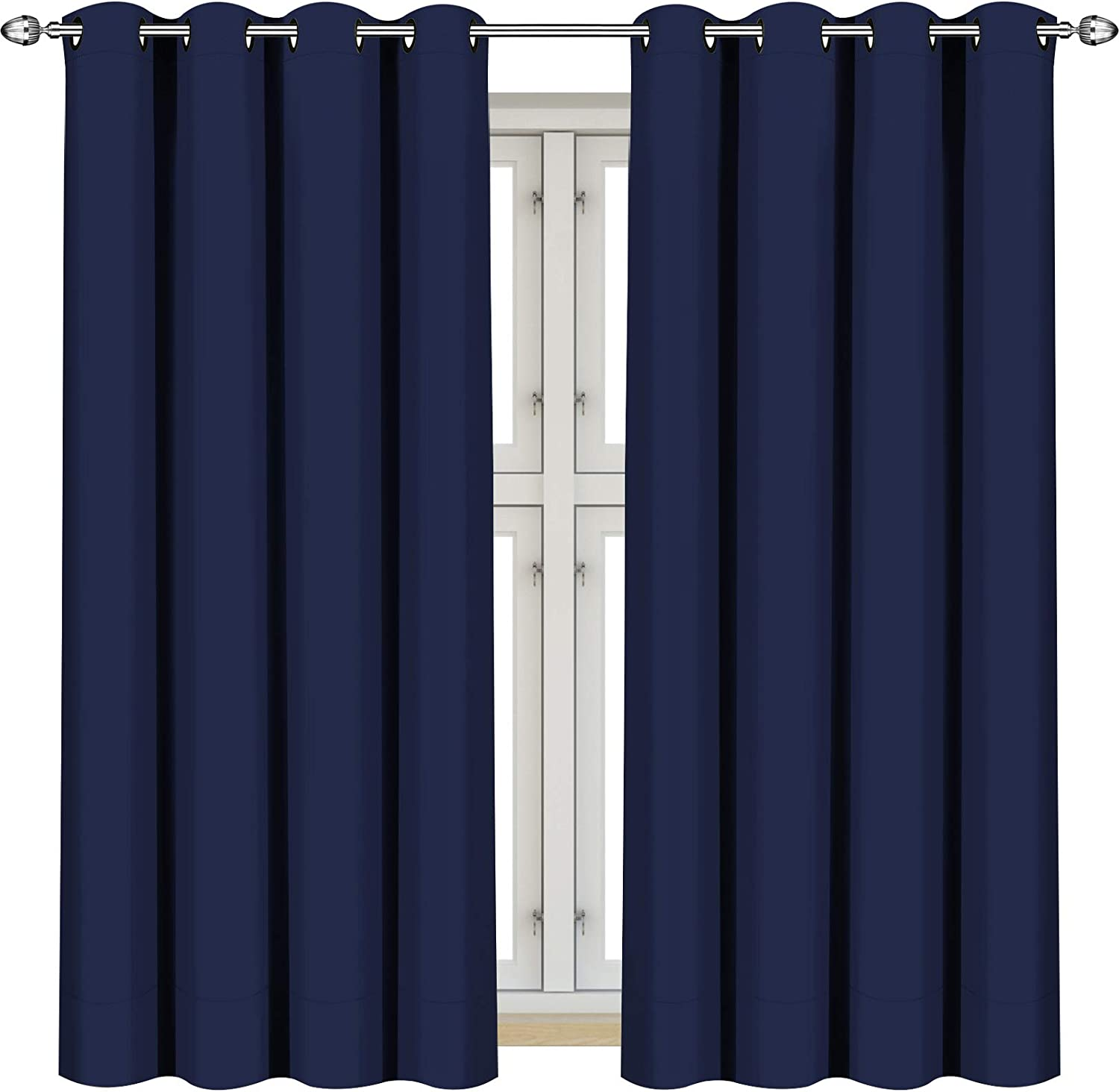 """Utopia Bedding 2 Panels Eyelet Blackout Window Curtains Thermal Insulated for Bedroom 137 cm Drop (Navy, 117 cm Wide) 2x W46""""xL54"""" (117 x 137 cm) Navy"""