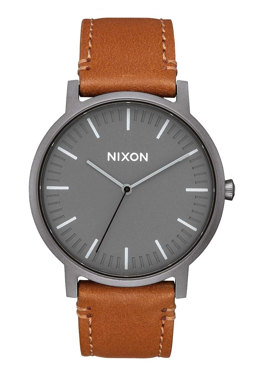 NIXON Porter Leather A1058 - Gunmetal/Charcoal/Taupe - 50m Water Resistant Men's Analog Classic Watch (40mm Watch Face, 20-18mm Leather Band) by NIXON
