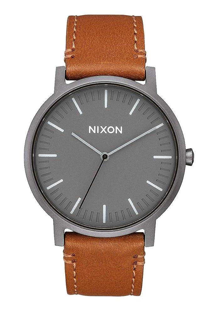 Nixon Mens Porter Leather A10582494 Matte Grey Japanese Quartz Dress Watch