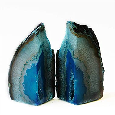 JIC Gem Teal Agate Bookends 4 to 6 Lbs Polished 1 Pair with Rubber Bumpers for Office Décor and Home Decoration
