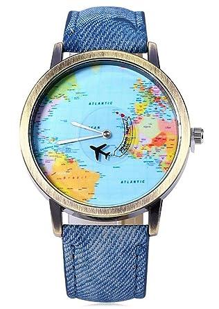 Gracefulvara universal women men world map style quartz watch blue gracefulvara universal women men world map style quartz watch blue denim strap gumiabroncs Images