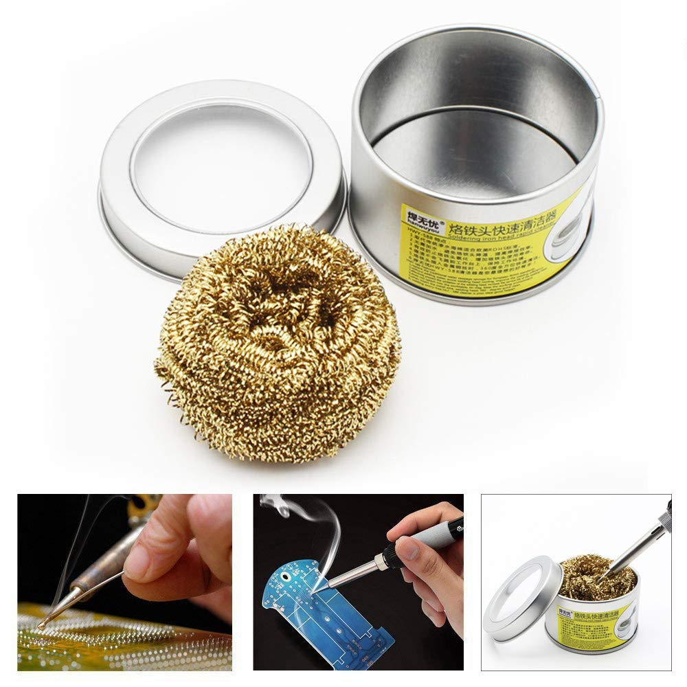 Lljin Soldering Iron Tip Cleaner With Brass Wire Sponge No Water Needed