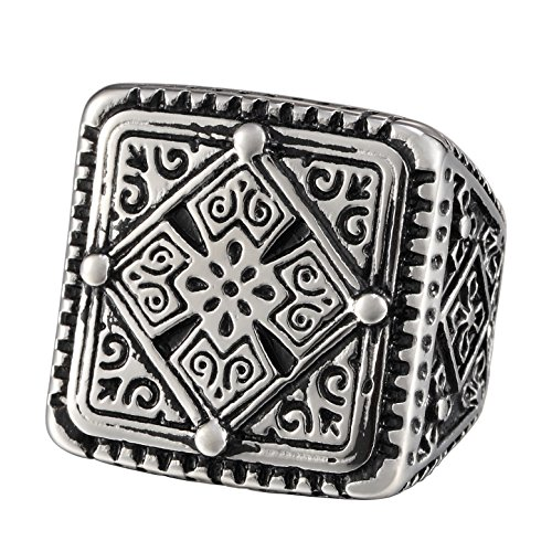 Mens Stainless Steel Large Heavy Square Ring, Vintage Gothic Four Leaf Clover Cross Signet, Black Silver ()