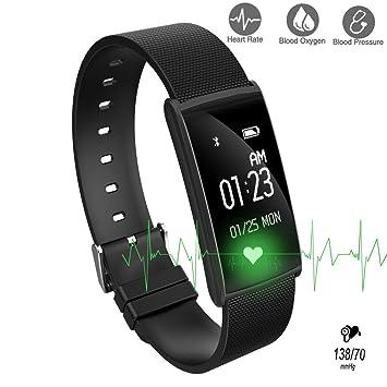 ROGUCI Smart Pulsera Bluetooth Wristband, Impermeable Frecuencia Cardíaca Monitor de Sueño /Pasos/Calorías