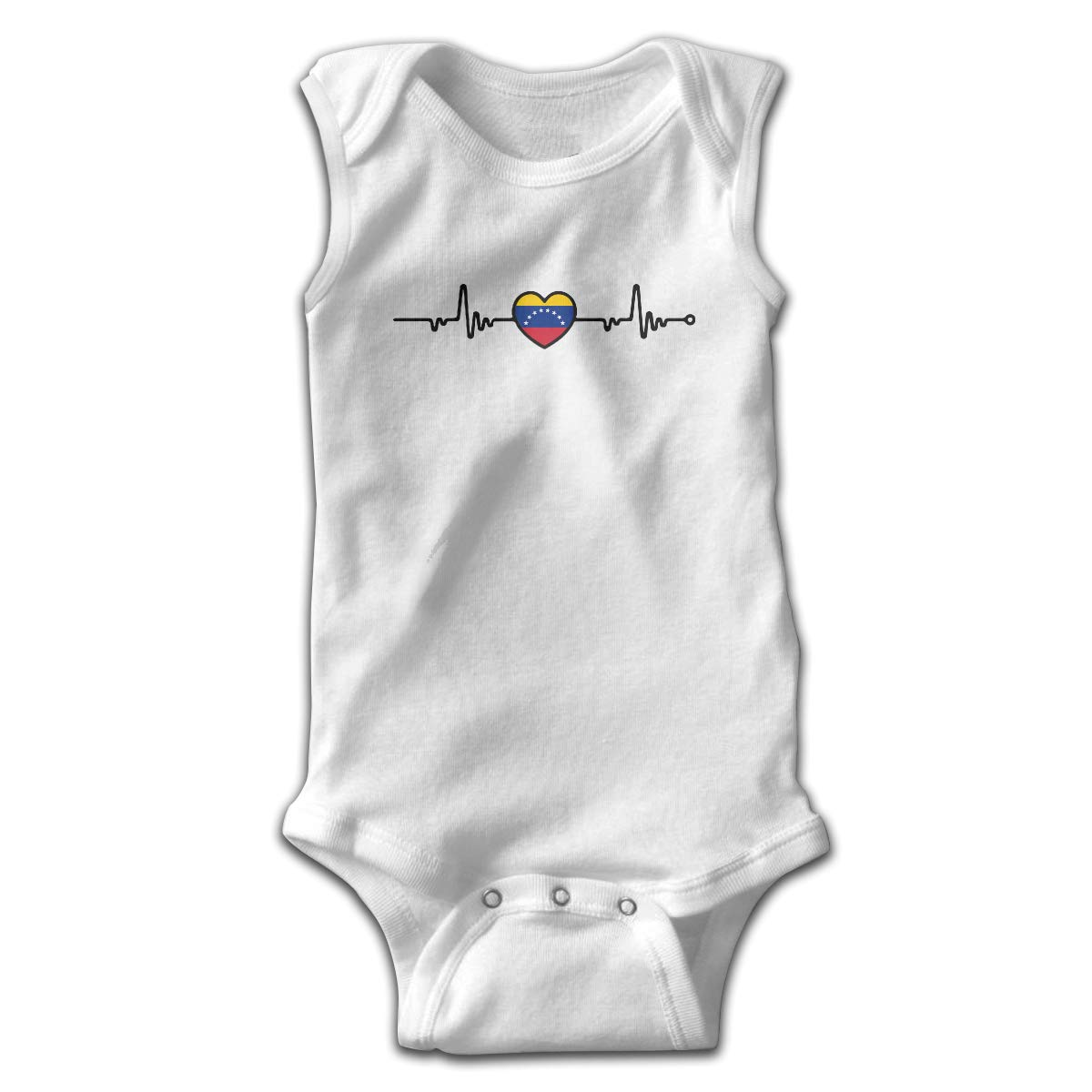 Venezuela Flag Heartbeat Line Heart Printed Baby Boy Girl Sleeveless Bodysuit Jumpsuit Outfits