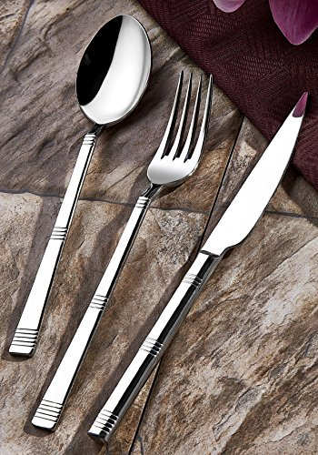 Olinda 18/10 Real Stainless Steel silverware set 20 pcs Flatware set hammered flatware silverware, Stainless steel tableware set, Line (Steel Stainless Tableware Set)