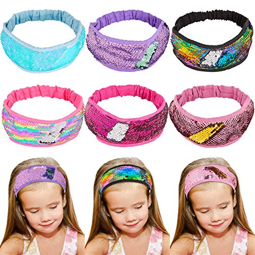 Beinou Sequins Mermaid Headband Glitter Sequins Sport Headbands for Girls Non Slip Sparkly Hairband Hair Style Accessories Pack of 6]()