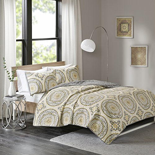 Comfort Spaces – Venice Mini Quilt Set – 3 Piece – Medallion Pattern – Yellow, White, Grey – Full/Queen Size, includes 1 Quilt, 2 Shams