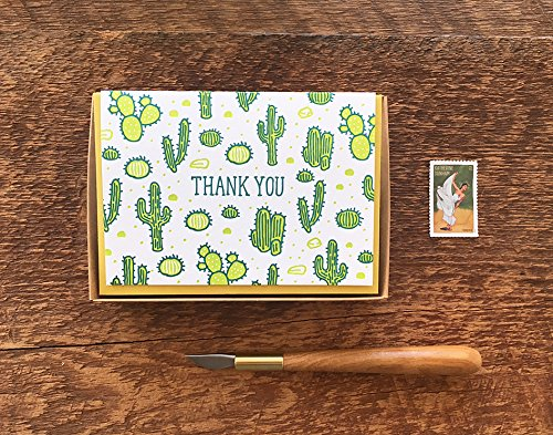 Cactus Thank You Card, Thank You Cards, Boxed Set of 8 Letterpress Note Cards, Blank Inside