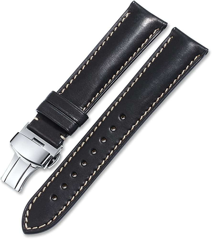 iStrap Quick Release Watch Band - Top Grain Leather Replacement Quickfit Strap - Stainless Steel Buckle - 18mm, 19mm, 20mm, 21mm 22mm,24mm for Men Women