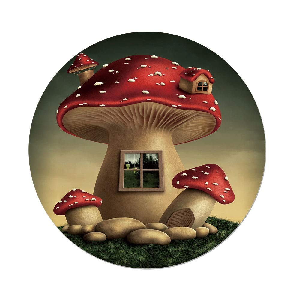 Polyester Round Tablecloth,Mushroom,Alone Fantasy Mushroom House in Fantasy Forest Cottage Window Surreal Decorative,Light Brown Green Red,Dining Room Kitchen Picnic Table Cloth Cover,for Outdoor Ind