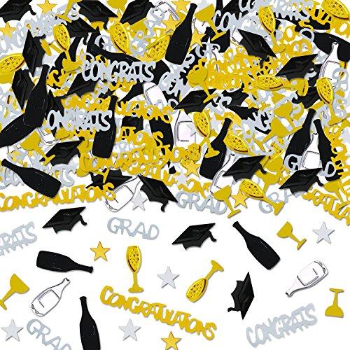 Holicolor 100g Graduation Party Confetti Star, Cap, Wine Glass, Wine Bottle, Grad, CONGRATS, CONGRATULATIONS Confetti Bright Graduation Decoration Set -