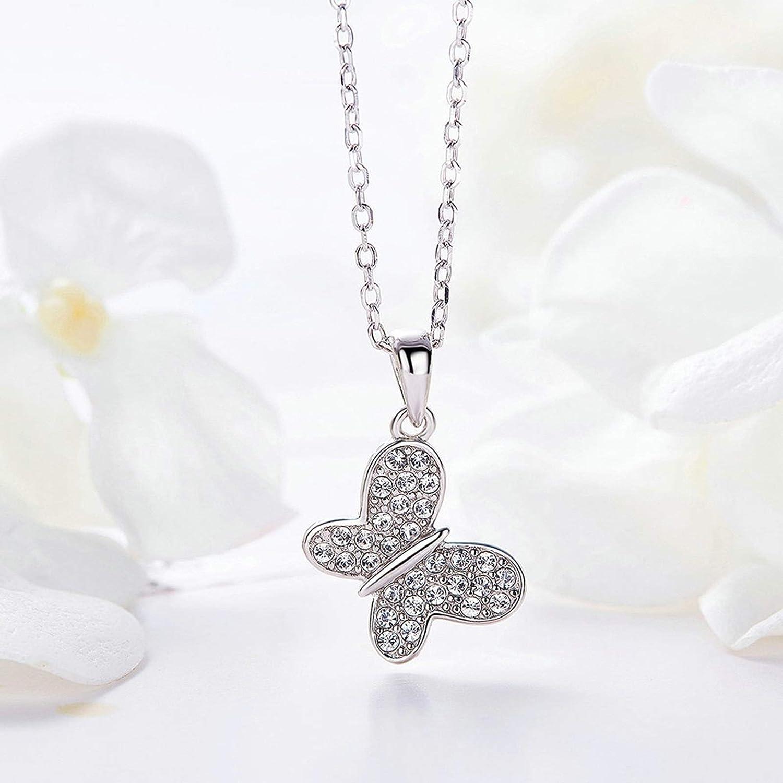 Aokarry Jewelry Women Sterling Silver Pendant Necklacesbutterfly Pendant Silver