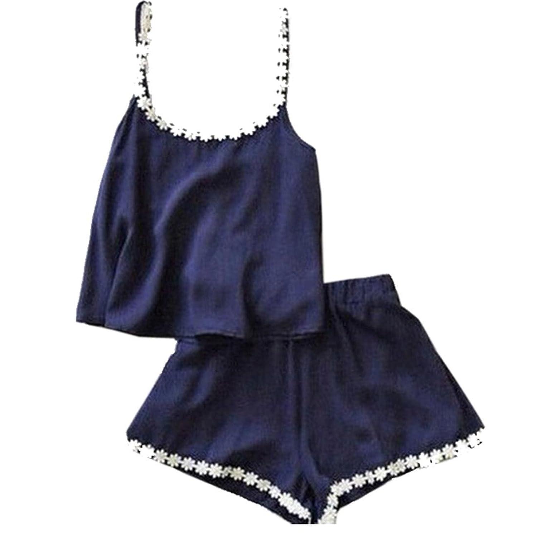 Minetom Damen Jumpsuit Streifen kurz Sommer Strand Elegant Tops Shorts Sets O Ausschnitt Reizvolle