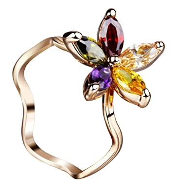 """6dd6e958d94 Image Unavailable. Image not available for. Color  IUHA Beautiful """"Summer  Flower"""" Ring ..."""